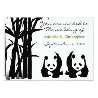 Osos de panda e invitación de bambú del boda invitación 12,7 x 17,8 cm
