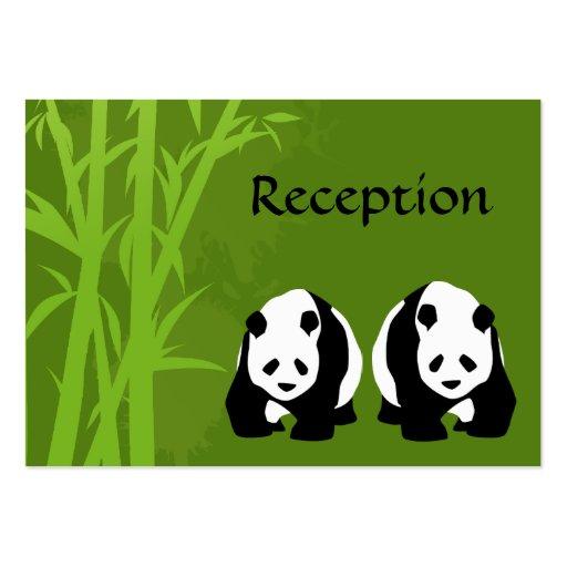 Osos de panda y tarjetas de bambú de la recepción  plantillas de tarjeta de negocio