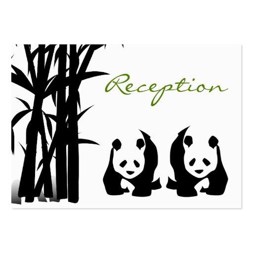 Osos de panda y tarjetas de bambú de la recepción  plantilla de tarjeta personal