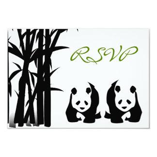 Osos de panda y tarjetas de bambú de RSVP que se Invitación 8,9 X 12,7 Cm