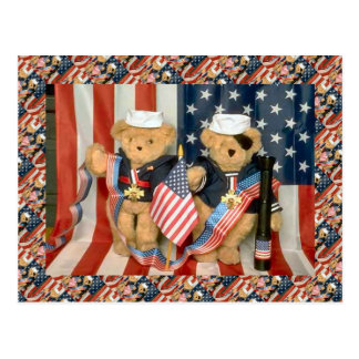 Osos de peluche, bearly veteranos, patriótico postal