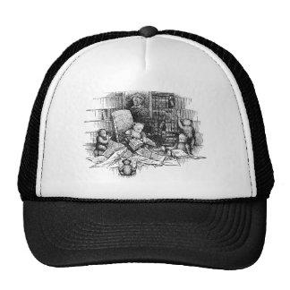 Osos de peluche que leen en la biblioteca gorras de camionero