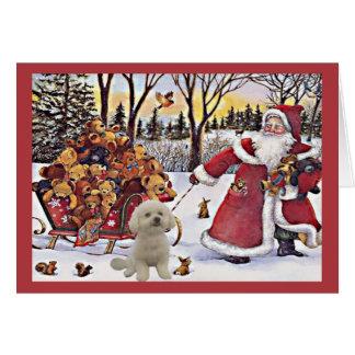 Osos de Santa de la tarjeta de Navidad de Bichon