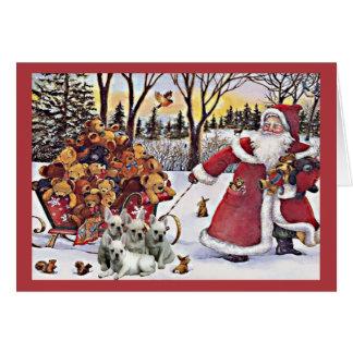 Osos de Santa de la tarjeta de Navidad del dogo fr