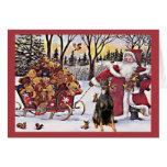Osos de Santa de la tarjeta de Navidad del Pinsche