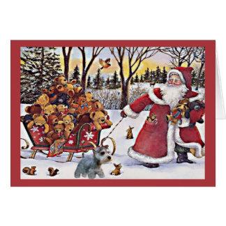 Osos de Santa de la tarjeta de Navidad del Schnauz