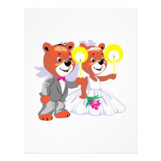 osos del novio de la novia que llevan a cabo velas folleto 21,6 x 28 cm