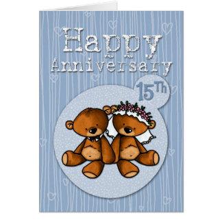 osos felices del aniversario - 15 años tarjeta