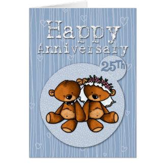 osos felices del aniversario - 25 años tarjetón