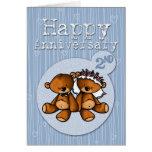 osos felices del aniversario - 2 años tarjetas