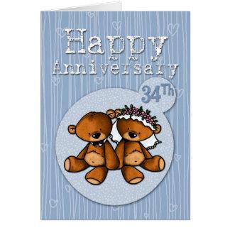 osos felices del aniversario - 34 años tarjeta de felicitación