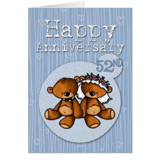 osos felices del aniversario - 52 años tarjeta de felicitación