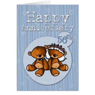 osos felices del aniversario - 56 años tarjeta de felicitación