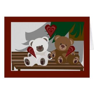 Osos felices del el día de San Valentín Tarjeta De Felicitación