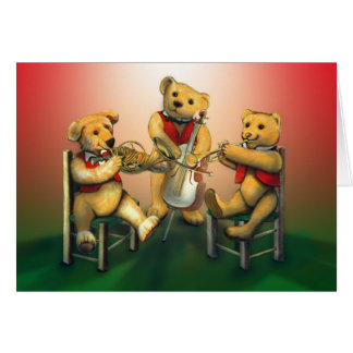 Osos musicales del navidad del vintage tarjeta de felicitación