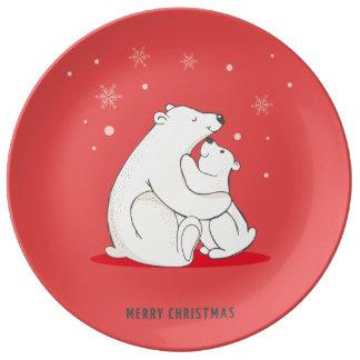 Osos polares del navidad rojo lindo plato de porcelana