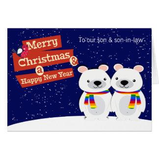 Osos polares del navidad temático gay tarjeta de felicitación