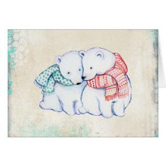 Osos polares en tarjeta de Navidad de las bufandas