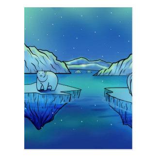 Osos polares y aurora boreal postal