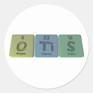 Otis como azufre del titanio del oxígeno pegatinas redondas