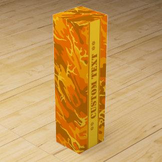 Otoño Camo anaranjado con el texto de encargo Caja Para Vino