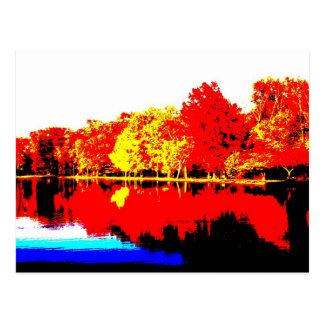 Otoño en colores primarios postal