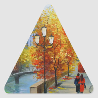 Otoño en París Pegatina Triangular
