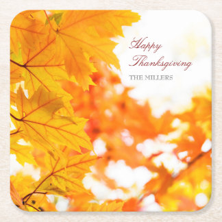 Otoño festivo de la acción de gracias posavasos de papel cuadrado