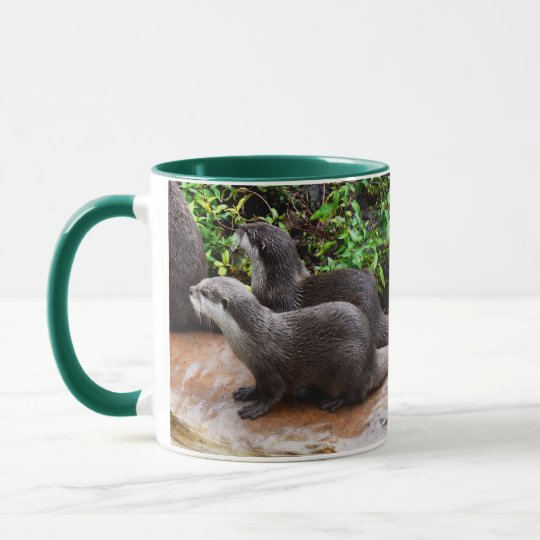 Otterly a lindo, nutria, taza de café verde del