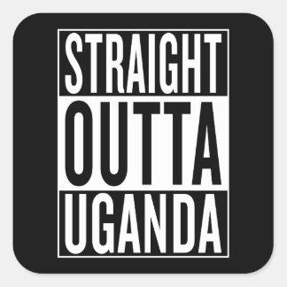 outta recto Uganda Pegatina Cuadrada