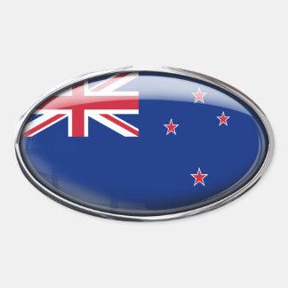 Óvalo de cristal de la bandera de Nueva Zelanda Colcomanias De Oval