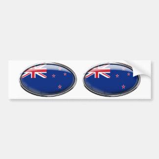Óvalo de cristal de la bandera de Nueva Zelanda Pegatina Para Coche