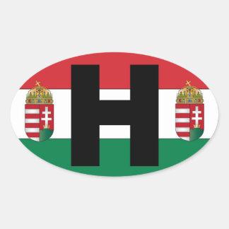 Óvalo de la bandera de Hungría Calcomania Óval
