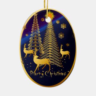Óvalo de los árboles de navidad y del reno del oro adorno navideño ovalado de cerámica