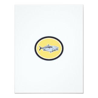 Óvalo del dibujo animado del carita invitación 10,8 x 13,9 cm