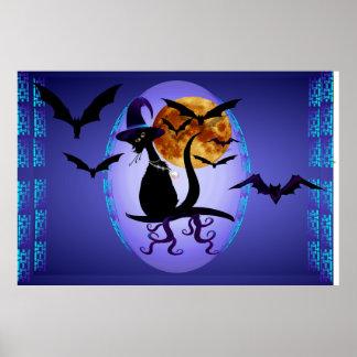 Óvalo negro Bewitching del gatito Impresiones