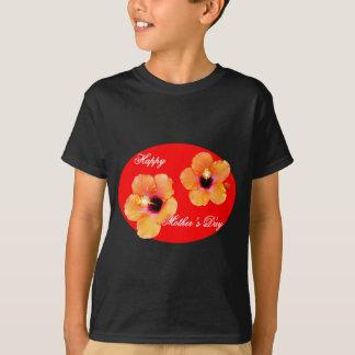 Óvalo rojo rojo de madre del hibisco feliz del día camiseta