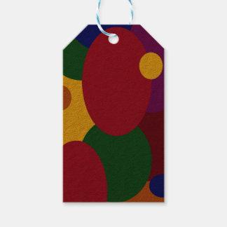 Óvalo y círculos multicolores en etiqueta del