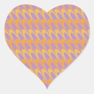 Óvalos del Los (naranja/púrpura) Pegatina En Forma De Corazón