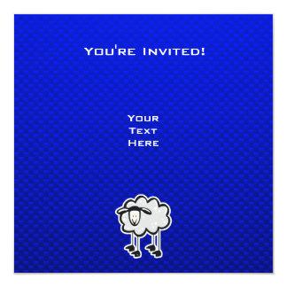 Ovejas azules invitación 13,3 cm x 13,3cm