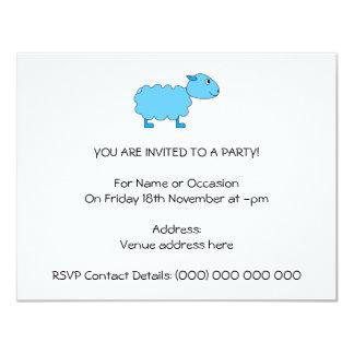 Ovejas azules invitación 10,8 x 13,9 cm
