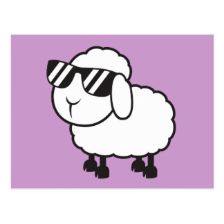 Ovejas blancas en dibujo animado de las gafas de postales