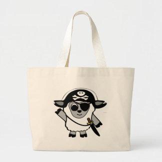 Ovejas del muchacho en traje del pirata bolsas de mano