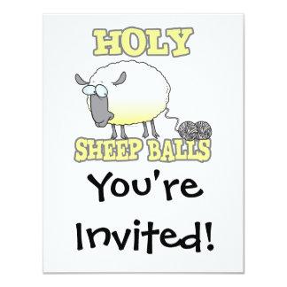 ovejas divertidas del hilado de las bolas santas invitación 10,8 x 13,9 cm