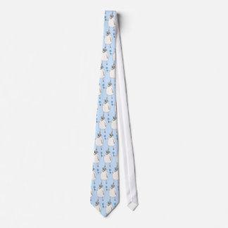 Ovejas en fondo azul corbata personalizada