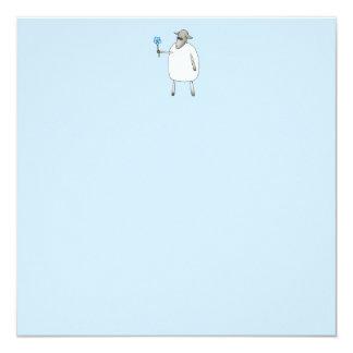 Ovejas en fondo azul invitación 13,3 cm x 13,3cm