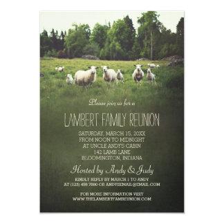 Ovejas en la reunión de familia del pasto el | invitación 12,7 x 17,8 cm