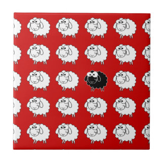 Ovejas negras azulejo cuadrado pequeño