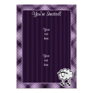 Ovejas púrpuras invitación 12,7 x 17,8 cm