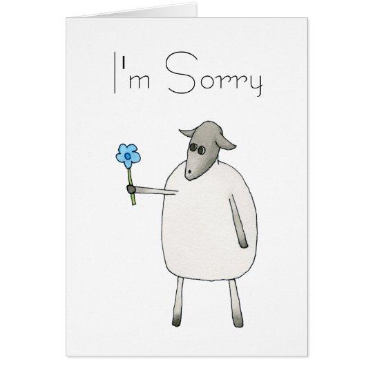 Ovejas que dan una flor, triste tarjeta de felicitación